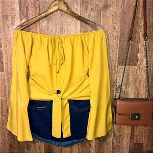 Blusa Ciganinha Cropped de Amarrar Amarelo