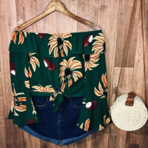 Blusa Ciganinha com Babado Cropped Sofia Floral Verde