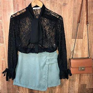 Camisa em Renda e Transparente Ligia Black