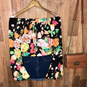Blusa Ciganinha Manga Longa Flare LB Floral Black
