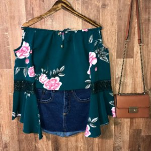 Blusa Ciganinha Ombro Caído Rute Floral Verde