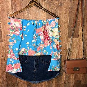 Blusa Ciganinha Manga Vazada LB Rute Floral Azul