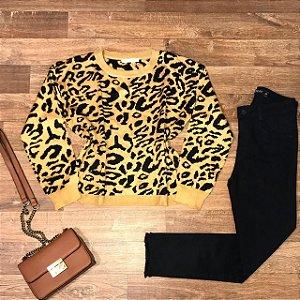 Blusa Tricot Modal Milão Animal Print Amarelo Escuro