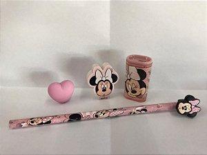 Kit Minnie de Luxo lápis com Ponteira Apontador Borracha e borracha Ponteira
