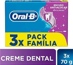 Kit Creme Dental Oral-B Escudo Antiaçúcar Pack Família c/ 3