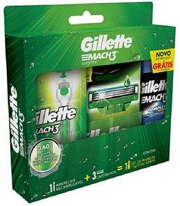 Kit Aparelho De Barbear Gillette Mach3 Sensitive Acqua-grip
