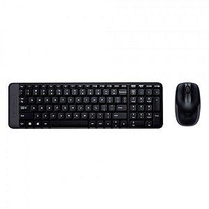 Kit Teclado e Mouse Logitech MK220  sem fio preto