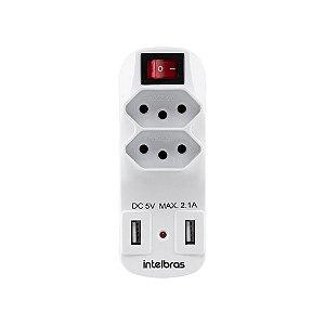 Adaptador De 2 Tomadas e USB Eac 1002 Intelbras