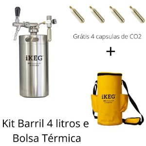 Kit chopeira bolsa térmica  4 l iKeg torneira italiana + 4 capsulas grátis