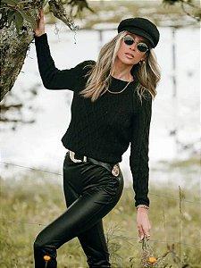 Blusa de tricot losangos preta