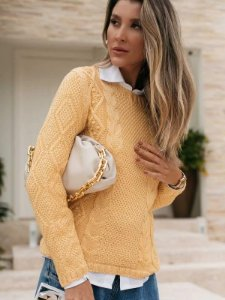 Blusa de tricot mullet relevos