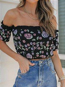 Cropped de tricot modal preto