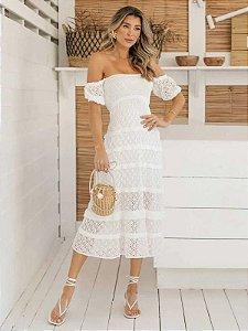 Vestido de tricot midi off white