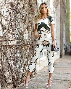 Blusa de viscolinho manga curta floral