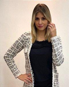 Cardigan de tricot modal com bolso frontal