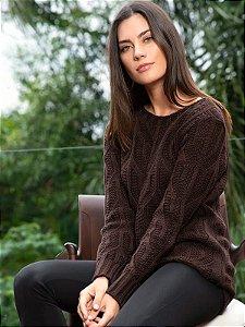 Blusa de tricot com gola canoa