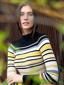 Blusa de tricot canelada listrada