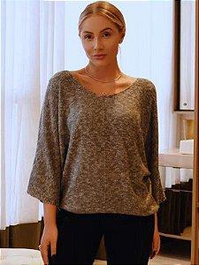 Blusa de tricot morcego decote V