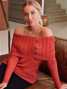 Blusa de tricot ombro a ombro