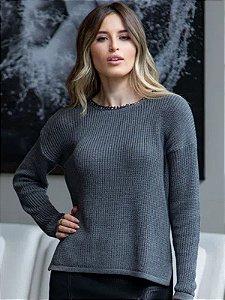 Blusa de tricot corrente na gola