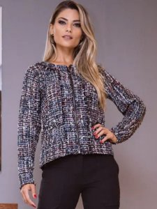 Casaco de tricot tweed corrente
