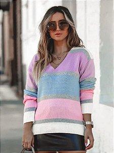 Blusa de tricot listrada com decote V