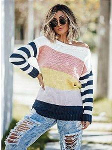 Blusa de tricot manga longa com listras coloridas