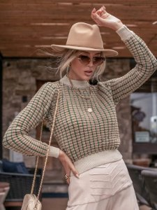 Blusa de tricot manga longa dropper