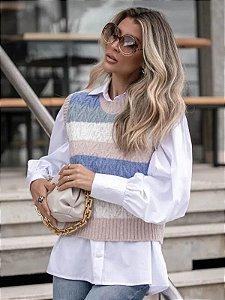 Colete de tricot com listras