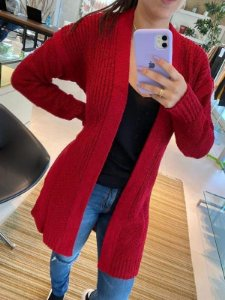 Casaco de tricot longo flamê