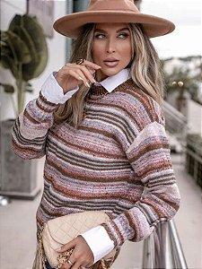 Blusa de tricot manga longa mesclada