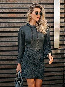 Vestido de tricot mangas longas