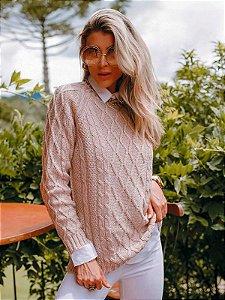 Blusa de tricot losangos