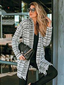 Casaco de tricot mousse xadrez