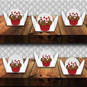 Forminha com aplique de Cupcake com 100 unidades