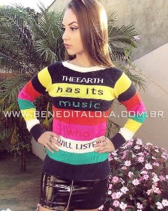 Blusa Feminina Tricot Music Com Pelinhos Inverno 2020 -TA