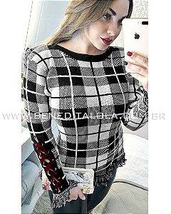 Blusa Tricot Feminina Xadrez Luxo Inverno 2019 -CE