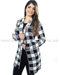 Maxi Cardigan Kimono Tricot Quadrados Inverno 2021 -SK 449