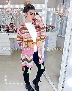 Maxi Cardigan Tricot Colorido Inverno 2019 -CP