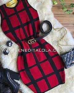 Vestido Tricot Modal Quadriculado Cleo Verão 2020 -MD