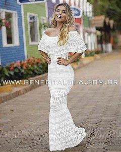 Vestido Longo Tricot Sereia Ciganinha Ombro a Ombro Reveillon 2020- KY