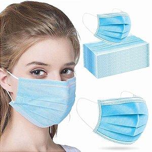 Máscara de Proteção Descartável de TNT com Tripla Camada, Elástico e Clip Nasal