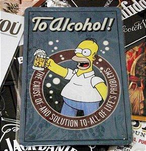 Homer Quadro Placa Metal