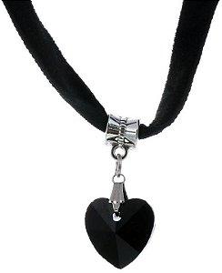 Colar Choker Camurça Coração