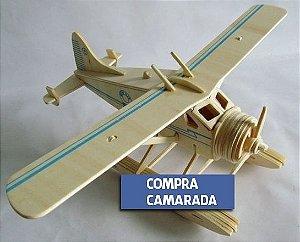 Avião Quebra-Cabeça 3D Madeira