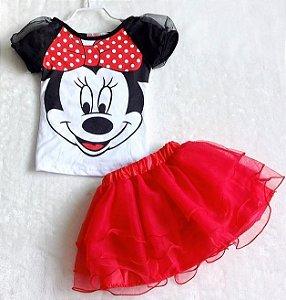 Conjunto Camiseta + Saia Minnie