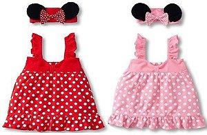 Conjunto Vestido Infantil Minnie com Lacinhos