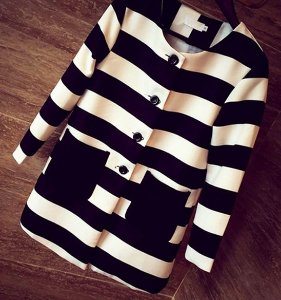 Casaco Listras Black & White
