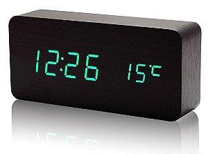 Relógio Despertador Wood Led