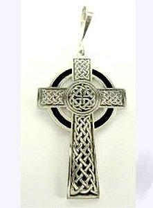 Cruz Gaélica em prata envelhecida e esmaltada
